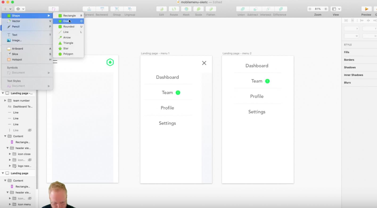 Sketch mobile menu desgign