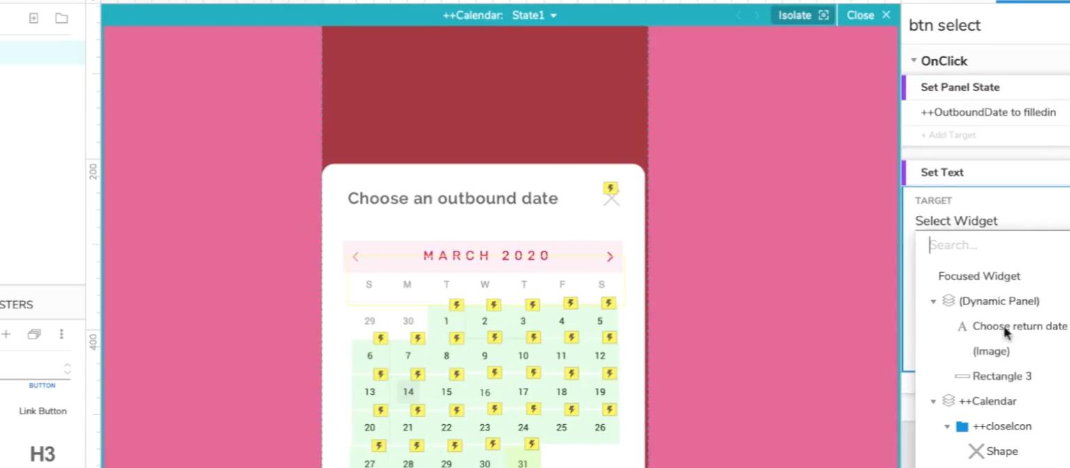 Axure calendar picker widget