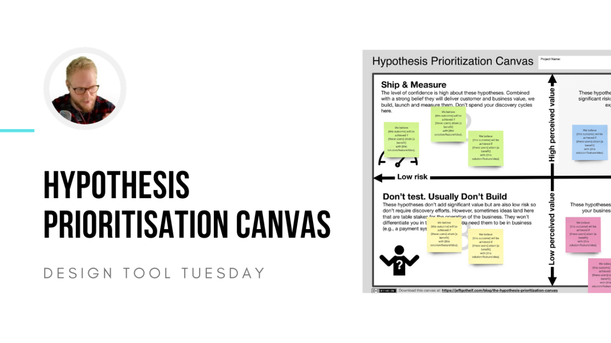 Hypothesis Prioritisation Canvas for Lean UX - Design Tool Tuesday
