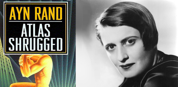 Ayan Rand and cover for Atlas Shrugged
